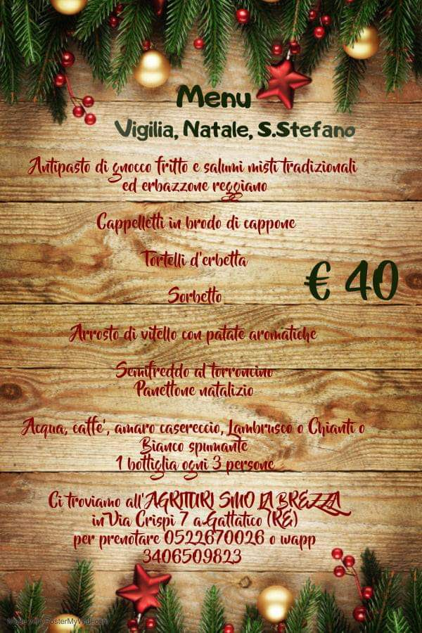 Menù Vigilia, Natale e S.Stefano