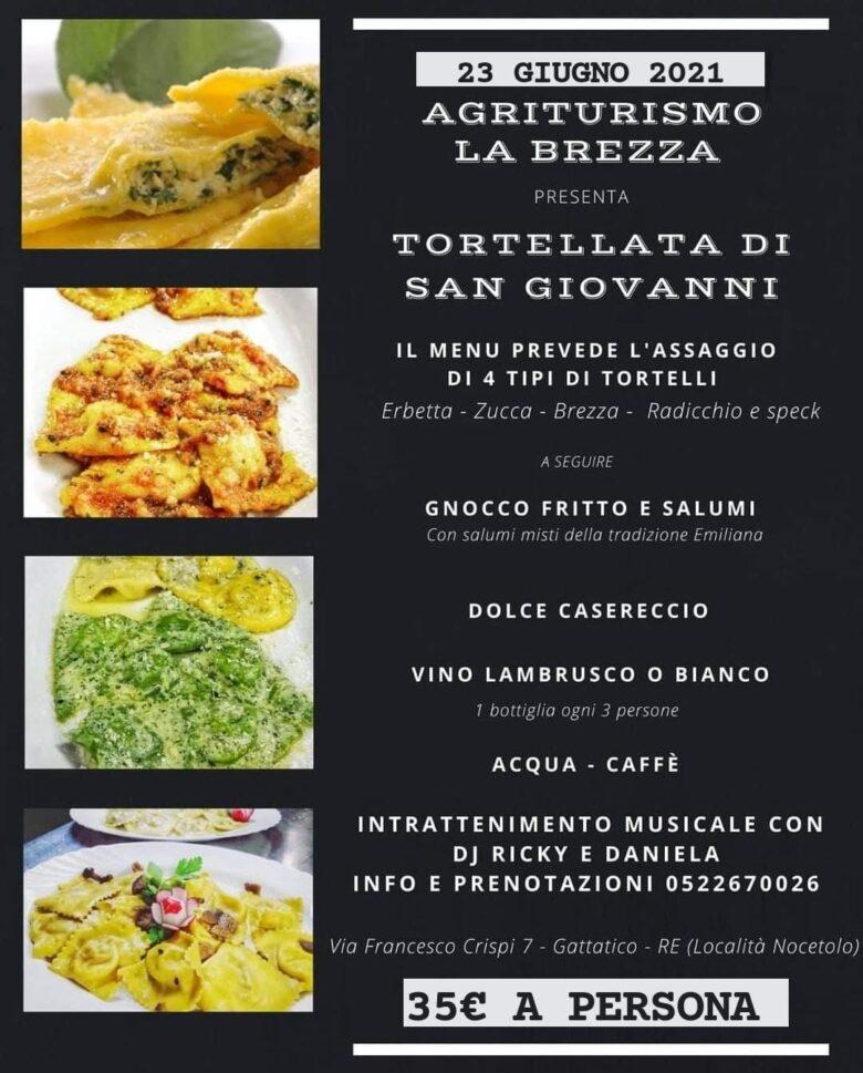 menù tortellata di san giovanni Reggio emilia
