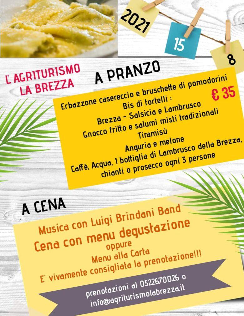 Menù pranzo e cena di Ferragosto Agriturismo la Brezza - Reggio Emilia